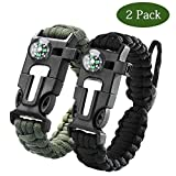Paracord Survival Armband Kit 2er-Set für Outdoor Survival, maxin 9 Zoll Survival Gear Kitmit eingebetteten Kompass, Feuerstarter, Notfall Messer & Pfeife