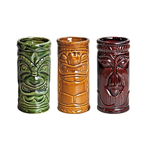 remium Geschenkbox mit 3 Tiki Bechern aus Keramik, mehrfarbig, für Hawaiian Cocktails (Tiki Bar-produkte)
