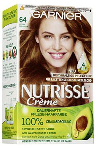 Garnier Nutrisse Creme Coloration Heller Bernstein 64 / Färbung für Haare für permanente Haarfarbe (mit 3 nährenden Ölen) - 3 x 1 Stück