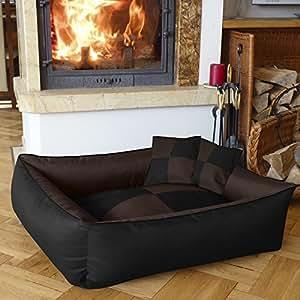 BedDog MAX QUATTRO 2en1, noir/brun, XXL env. 120x85 cm,Panier corbeille, lit pour chien, coussin de chien