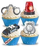 vorgeschnittenen Polizei Auto & Zubehör essbarem Reispapier/Waffel Papier Cupcake Kuchen Dessert Topper Party Geburtstag Dekorationen