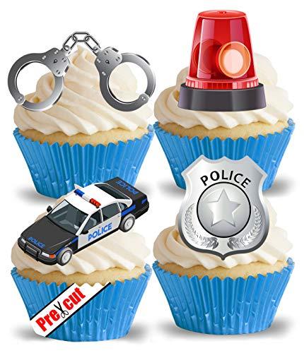 vorgeschnittenen Polizei Auto & Zubehör essbarem Reispapier/Waffel Papier Cupcake Kuchen Dessert Topper Party Geburtstag Dekorationen (Dekorationen Auto Geburtstag)