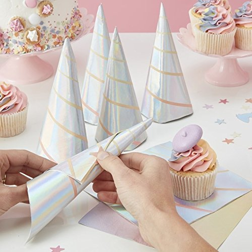 IRIDESCENT FOILED UNICORN HORN PAPER NAPKINS - MAKE A WISH