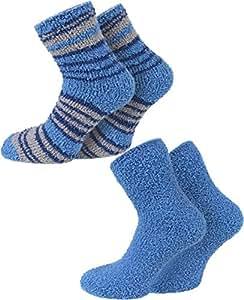 2 Paar normani® Cuddly Socks Kuschelsocken in verschiedenen Farben Farbe Grau/Blau Größe Onesize