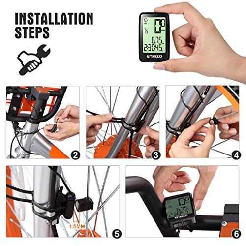 Enkeeo Aufladbare Fahrradcomputer – 1205 Fahrradtacho wasserdicht Radcomputer mit Kabel, 12 Stunden LCD Hintergrundbeleuchtung, Trittfrequenz Sensor, Kilometerzähler - 6