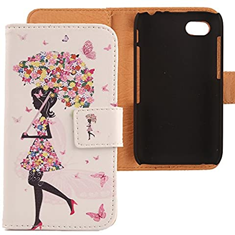 Lankashi PU Flip Coque Housse Etui Cuir Case Cover Protection Pour Blackberry Q5 4G LTE Umbrella Girl Design