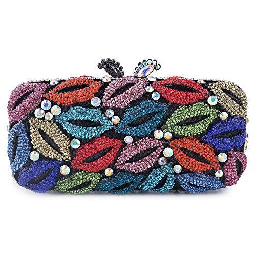Belle Maison Schönes Haus Luxusrhinestoneslippen küssen Parteiabendbeutelkettenschulterbeutelhandtaschenhochzeitsfeierfeiertagsbrautkleid-Handtaschengröße: 17.5 * 4.5 * 8.5cm (Farbe : Multi-Colored) (Brieftaschen Großhandel)