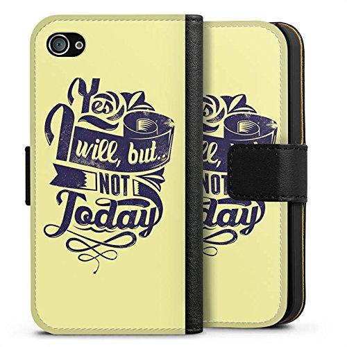 Apple iPhone X Silikon Hülle Case Schutzhülle Prokrastination Faulheit Statement Sideflip Tasche schwarz
