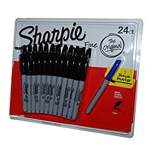Sharpie 24 x Sharpie Black Permanent Marker Pens + 1 Free Blue Pen