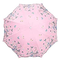 Lirener Colour Changing Umbrella/Parasol, Portable Compact Folding Black Umbrella Windproof Waterproof Anti-UV Protection Dual Use Changig Color Umbrella, Change Colour with Water, Butterfly Pattern