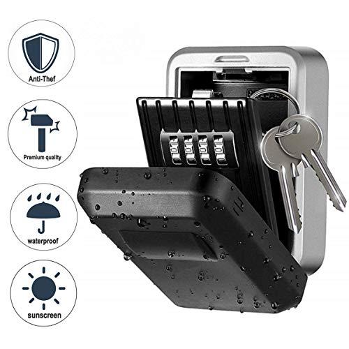 Wodesid Schlüsseltresor für Wandmontage Schlüsselsafe mit Individuell Einstellbarem Zahlencode Wetterfeste Schlüsselbox für Haus Garage Büro (A) (A)