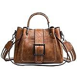 RENHONG borsetta Borse In Pelle Da Donna Primavera Bucket Bag Vintage Fashion Wide Shoulder Large Messenger Bag Casual Borsa A Tracolla Marrone nero,Brown-27*11*21cm