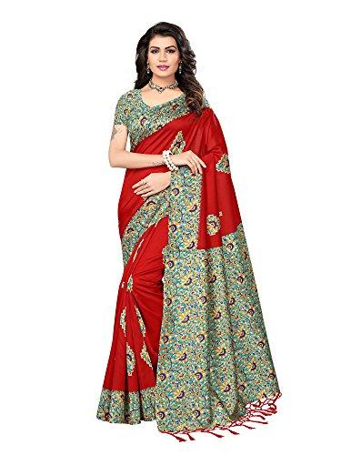 Mrinalika Fashion Women\'S Art Silk Saree With Blouse Piece ( Red_Srja059_Free Size )
