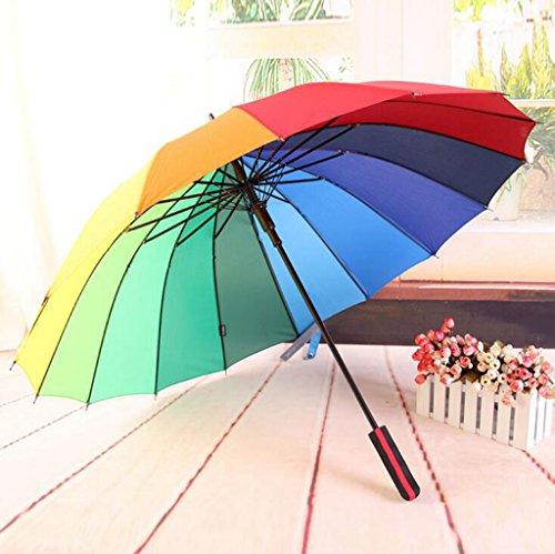 GTWP GT Regenschirm Automatik Mode 3 Folding Umbrella groß, 16 Knochen, gradient Farbe Rainbow Dach kreative Stockschirm Robuste winddicht Anti-UV-Sonnenschutz Dach