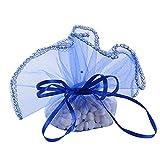 50Pcs Bolsas Bolsitas Saquitos Organza Boda Diámetro 26cm Azul real para Joyas Regalo Recuerdo Arroz Confeti Detalles Invitados Boda Navidad Fiesta Bautizo con Cintas
