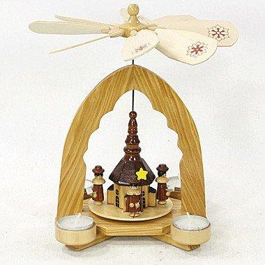 Unbekannt Sigro Holz Teelicht Pyramide mit Kirche, 25x 17x 18cm, Holz, Natur, 18x 17x 25cm -