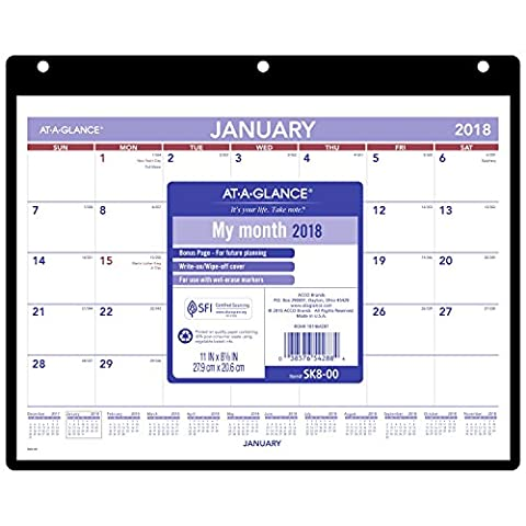 AT-A-GLANCE Monthly Desk Pad / Wall Calendar, January 2018 - December 2018, 11
