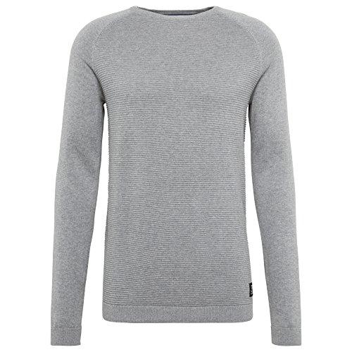 TOM TAILOR DENIM für Männer knit Pullover mit Struktur heather grey melange
