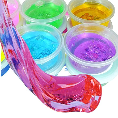 KABEER ART ® Crystal Clay Soft Slime Transparent Magic Mud Pack of 6 Assorted Colours