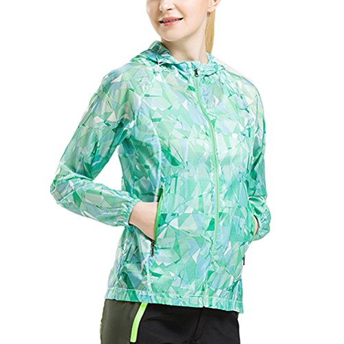 Zhhlinyuan Fashion de plein air Skin Clothing Breathable Sports Couples Pattern Windbreaker Coat green