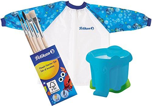 Pelikan Malschürze mit Klett-Verschluss und Tragebeutel für Kinder von ca. 6 - 9 Jahre / Kombi-Set (+ Elefanten-Becher & 5 Pinsel, Blau) Wasser Becher