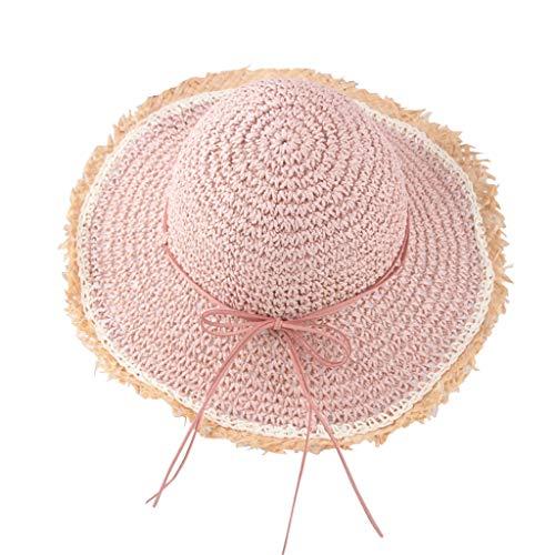 Sommer Strand Atmungsaktiv Hut Stroh Hut Sonnenschutz Caps HüTe MüTze Beach Outdoor Hut(B3-Rosa) ()