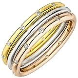 Jobo Damen Ring 3-teilig 925 Silber Tricolor Dreifarbig Vergoldet 24 Zirkonia Größe 52