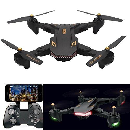 Verbesserte Version des XS809S Quadcopter  Sunsee Upgrade VISUO XS809HW Wifi Weitwinkel 2MP Kamera 2.4G Selfie RC Quadcopter Spielzeug Folding + Weitwinkel 720P Objektiv + Cool Shark Modellierung + 1800mAh Große Batterie (schwarz)