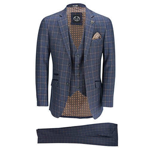 XPOSED New Mens 3 Piece Orange on Blue Window Check Retro Smart Tailored Fit Vintage Suit