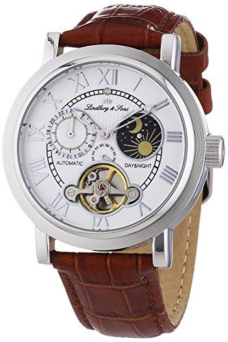 Lindberg & Sons - CAP13G207 - King - Montre Homme - Automatique Analogique - Cadran Blanc - Bracelet Cuir Marron