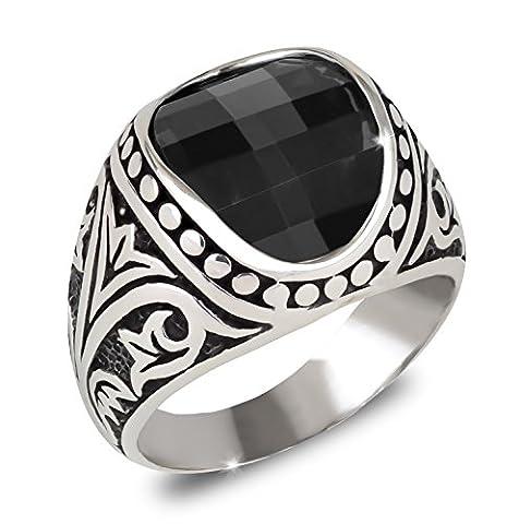 AdensJewels- Signet Ring-Silber 9.7 Gr-Mann-Biker-Black Onyx