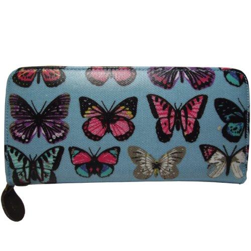 UKFS ragazze delle signore Nicole gufo / Farfalla Stampa olio panno borsa / raccoglitore / frizione (Farfalla Grigio) Farfalla Blu