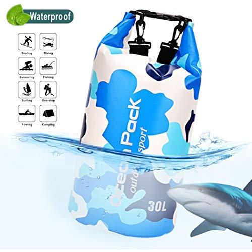 Idefair Wasserdichter Packsack, Schwimmender Trockenrucksack Strandtasche Leichter Trockensack für den Strand, Bootfahren, Angeln, Kajakfahren, Schwimmen, Rafting, Camping 10L 20L (Hellblau, 20L)