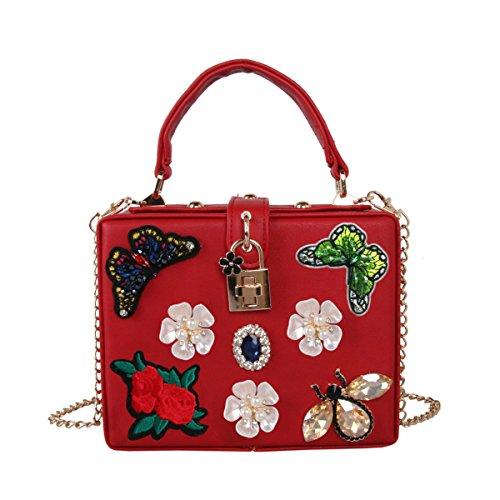 Schmetterlings-Stickerei-Abendessen-Beutel Luxuxperlen Blumen-Diamant-Handtasche Schultertasche Red