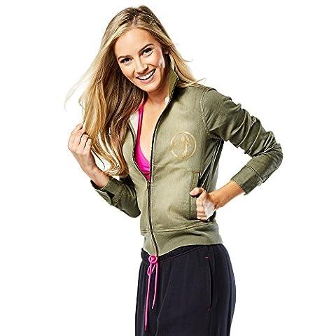 Zumba Fitness Damen World Tour Military Jacket Outerwear, Armed and Ready, XXL (Fashion Stretchable Armband)