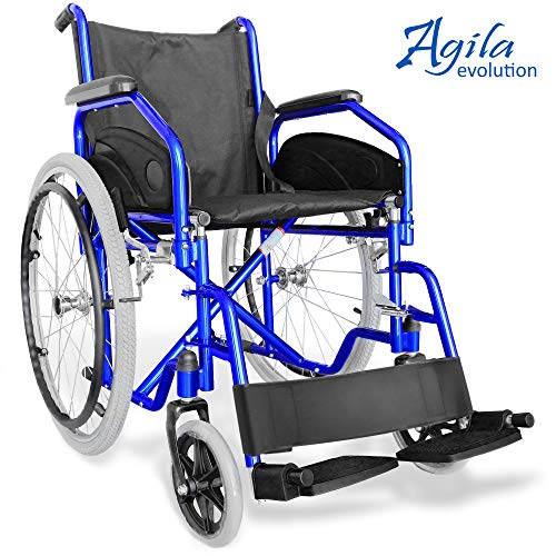 AIESI Klapprollstuhl leichter faltbarer selbstfahrender - Rollstuhl für ältere und behinderte menschen AGILA EVOLUTION ✔ Ausziehbare armlehnen und fußstützen ✔ Sicherheitsgurt ✔ 24 Monate Garantie
