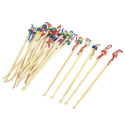 sourcingmap® 20 Stück Bambus Japanische Puppe Ohrenschmalz Löffel Entferner Ohrlöffel
