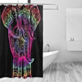 JSTEL Boho Elefant Duschvorhang Schimmel resistent und wasserdicht Polyester Stoff 72x 72cm, extra-lange Badezimmer Deko-Liner mit Haken