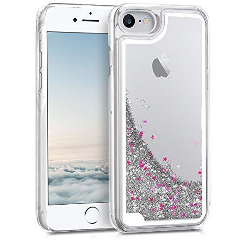 kwmobile Hülle für Apple iPhone 7/8 - Hardcase Backcover Case mit Flüssigkeit Handy Schutzhülle - Cover mit Schneekugel Sterne Design in Silber Pink Transparent