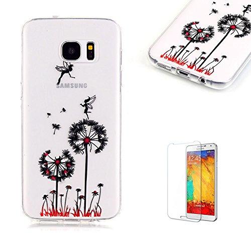 Cover Samsung Galaxy S7 Edge Silicone Custodia Morbida Trasparente con Disegno Dente di Leone Elfo,Funyye (Cinghia Della Gomma Di Silicone)