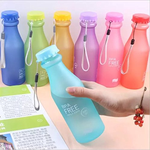 51%2BUKraRMxL - Doyime 550 ml Not Easy Breaking Frosted Bottle With Cover Leak Proof Creative Portable Water Cup Plastic Bottle Glass Red