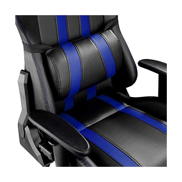 TecTake Silla de oficina ergonomica racing gaming con soporte lumbar – disponible en diferentes colores – (negro azul   no. 402031)