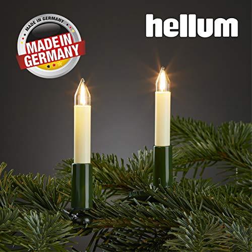 Hellum Lichterkette innen / 20 Filament warm-weiß Schaftkerzen/Länge 13,3 m + 2x1,5 m Zuleitung, schwarzes Gummi-Kabel/Fassungsabstand 70 cm/teilbarer Stecker/Weihnachten / 802009