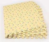 9 Stück Holz Wirkung Puzzlematten,30x30cm x 1 cm, Spiel-Matten für Kinder Weiche Puzzle Mats EVA-Schaum-Matten , Kinderspielteppich Wasserdicht Rutschfest Spielteppich Puzzle Kinderteppich Gymnastikmatte Trainingsmatte für Kinder und Babys Schlafzimmer Yoga Turnhalle Kinderzimmer Deko Für Innen und Draußen geeignet (gelb)