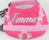 Hundegeschirr S M L XL XXL Brustgeschirr Wunsch Name bestickt Kunstleder pink für kleine mittelgroße große Hunde
