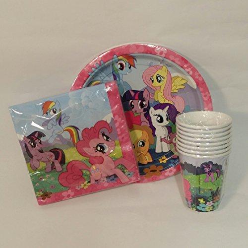 My Little Pony Lot de 8 gobelets, 8 assiettes et 16 serviettes Mon Petit Poney pour fête d'anniversaire