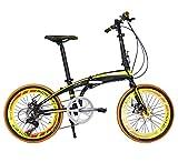 Richbit RT-020-Super Light telaio in alluminio di alta moda nero mini colore giallo pieghevole della bicicletta 20 in Shimano 7 Gears Città Sport Freni bici meccaniche
