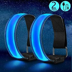 ZWOOS LED Armband, 2 Stück Wiederaufladbar Leuchtband Sports Reflektorband für Laufen, Joggen, Radfahren
