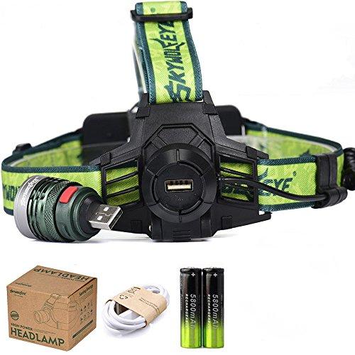 LED Stirnlampe, Ulanda-EU 5000LM LED Kopflampe Wasserdichte Wiederaufladbare Stirnlampe, Ideal für Wandern, Angeln , Klettern, Fahrrad Fahren, Notfall, inklusive USB Kabel, 2 x 18650 Akku