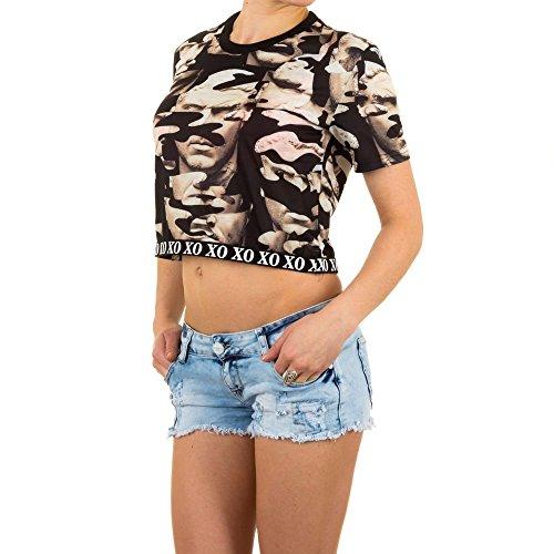 Damen T-Shirt Crop Bauchfrei Top Print Beige M/L (T-shirt Tochter Dunklen Womens)